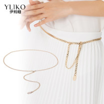 Belt / belt / chain Metal Silver chain gold chain female Waist chain leisure time Single loop Middle aged youth a hook Glossy surface Glossy surface 0.6cm alloy Naked chain Iriko 000YL119-1 Spring 2020 no