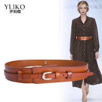 Belt / belt / chain top layer leather female belt Versatile Single loop Middle aged youth Pin buckle Glossy surface Glossy surface alloy alone Iriko Summer of 2019 no