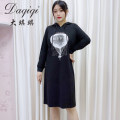 Women's large Autumn 2020 black Large L, large XL, 2XL, 3XL Dress singleton  commute easy moderate Socket Long sleeves Korean version Hood Three dimensional cutting routine 30-34 years old Three dimensional decoration Middle-skirt