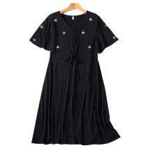 Women's large Summer 2021 black Large L, large XL, 2XL, 3XL, 4XL, 5XL Dress singleton  commute Self cultivation moderate Socket Short sleeve Solid color Korean version V-neck routine Three dimensional cutting routine 30-34 years old Three dimensional decoration Middle-skirt