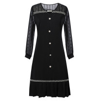 Women's large Spring 2021 black Dress singleton  commute Self cultivation moderate Socket Long sleeves Solid color Korean version V-neck Three dimensional cutting routine 30-34 years old Three dimensional decoration Middle-skirt other