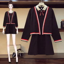 Women's large Autumn of 2019 black Big XXL, big XL, big L Other oversize styles Two piece set commute easy moderate Cardigan Long sleeves Korean version Polo collar routine polyester fiber Three dimensional cutting routine Quiet snow 25-29 years old 96% and above Medium length Princess Dress bow