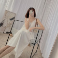 Dress Summer 2021 white S, M Mid length dress singleton  Sleeveless commute V-neck High waist Solid color A-line skirt camisole Type A 21412YS-LYQ8857 More than 95% other