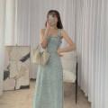 Dress Summer 2021 Broccoli S, M Mid length dress singleton  Sleeveless commute square neck High waist Broken flowers A-line skirt camisole Type A 21412W-LYQ056 More than 95%