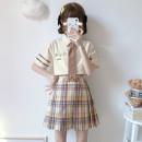 Fashion suit Summer 2021 S,M,L Short sleeve shirt + tie, plaid skirt 71% (inclusive) - 80% (inclusive) cotton