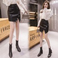 skirt Autumn 2020 S,M,L,XL,2XL black Short skirt commute High waist Irregular Solid color Type A 25-29 years old 31% (inclusive) - 50% (inclusive) other PU Asymmetric, button, zipper Korean version