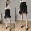 skirt Spring 2021 S,M,L,XL,2XL black Short skirt commute High waist skirt Solid color Type X 25-29 years old 51% (inclusive) - 70% (inclusive) brocade Viscose Korean version