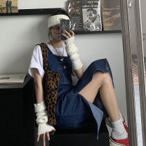 Dress Summer 2021 blue S,M,L,XL Mid length dress singleton  Sleeveless commute square neck High waist Solid color Socket other other straps 18-24 years old Type H Korean version Button 31% (inclusive) - 50% (inclusive) Denim other