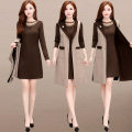Dress Autumn of 2019 khaki L,XL,2XL,3XL,4XL,5XL Mid length dress Two piece set Long sleeves commute Crew neck High waist Solid color Socket A-line skirt routine Others 35-39 years old Type A Korean version Pocket, mesh