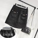 skirt Winter of 2019 M,L,XL,2XL,3XL,4XL black Short skirt Sweet High waist A-line skirt Solid color Type A college