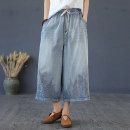 Jeans Summer of 2019 Light dark L XL Ninth pants Natural waist Wide legged trousers Thin money 25-29 years old Make old embroidery Cotton denim Flower concept Other 100%