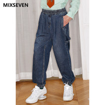 Jeans Fashion City mixseven S,M,L,XL indigo routine M8K31 trousers Other leisure Cotton 100% youth Medium high waist Fitting straight tube Pencil pants