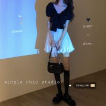 Fashion suit Summer 2020 Average size Black top and white skirt Lokeya 1JGJP_ one trillion and six hundred and fourteen billion nine hundred and eighty-two million nine hundred and fifty-five thousand two hundred and thirty-five Triacetate fiber (triacetate fiber) 100%