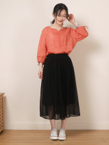 skirt Spring 2021 M, L black Mid length dress commute Natural waist Umbrella skirt Solid color Type A More than 95% Crepe de Chine silk Pleating literature