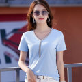 T-shirt White, black, blue, dark gray S,M,L,XL,2XL,3XL Summer 2020 Short sleeve V-neck Self cultivation Regular routine commute cotton 96% and above 30-39 years old Korean version originality Solid color Xinyuege Tie dyeing, thread decoration, nail bead, chain