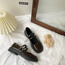 Low top shoes 35,36,37,38,39 Other / other Black, brown Round head PU Thick heel Flat heel (1cm or less) Shallow mouth PU Spring 2021 Flat buckle solar system Adhesive shoes Youth (18-40 years old) Solid color rubber Mary Jane shoes Belt buckle Microfiber skin wj2157