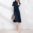 Dress Spring 2021 Tibetan green S, m, l, XL Mid length dress singleton  Short sleeve commute Crew neck High waist Solid color Socket A-line skirt routine Others Type A BEETLE FLY / The bug flies Simplicity More than 95% Silk and satin silk