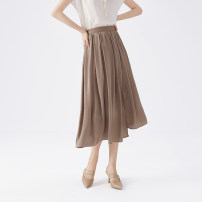 skirt Silk and satin Summer 2021 Mid length dress Natural waist A-line skirt commute Solid color More than 95% polyester fiber Type A BEETLE FLY / The bug flies Simplicity 36 = s code, 38 = M code Apricot yellow