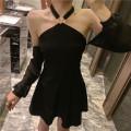 Dress Summer 2020 White, black Average size Short skirt singleton  Long sleeves commute High waist other raglan sleeve Hanging neck style Retro 51% (inclusive) - 70% (inclusive) cotton