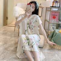 Nightdress Other / other M,L,XL,XXL Sweet camisole pajamas Middle-skirt summer Plants and flowers youth Crew neck viscose  printing More than 95% poplin  1690 White Jasmine 400g and above