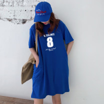 Dress Summer 2021 Black purple red light gray white yellow color blue denim blue dark gray pink Avocado Green Orange M L XL 2XL Mid length dress singleton  Short sleeve commute Crew neck Loose waist Solid color Socket other routine Others 18-24 years old Type H Weimei (clothing) Korean version other