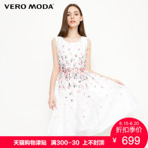 Dress Summer of 2018 S85 white 155/76A/XS160/80A/S165/84A/M170/88A/L175/92A/XL180/96A/XXL Mid length dress commute 25-29 years old Vero Moda Ol style 31827A571 Polyester 100% Same model in shopping mall (sold online and offline)