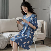Nightdress Jingshen 160(M) 165(L) 170(XL) 175(XXL) Sweet Short sleeve pajamas Middle-skirt summer other youth Crew neck cotton printing More than 95% Modal fabric 200g and below Summer 2020 Viscose (viscose) 100% Viscose (viscose) 100%