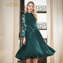 Dress Spring 2020 Peacock green (G03) 155/S 160/M 165/L 170/XL 175/XXL 180/XXXL Mid length dress singleton  Long sleeves commute Half high collar middle-waisted Abstract pattern Socket Big swing bishop sleeve Others 30-34 years old Type X VOA lady A10833 More than 95% Silk and satin silk