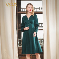 Dress Spring 2020 Peacock green (G03) 155/S 160/M 165/L 170/XL 175/XXL 180/XXXL Mid length dress singleton  Long sleeves commute V-neck middle-waisted Abstract pattern Socket A-line skirt bishop sleeve Others 30-34 years old Type X VOA lady Fold stitching nail bead resin fixation A10831 More than 95%