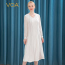 Dress Autumn 2020 Milk white (W97) 155/S 160/M 165/L 170/XL 175/XXL 180/XXXL Mid length dress singleton  Long sleeves commute V-neck Loose waist stripe Socket Big swing shirt sleeve Others 35-39 years old Type A VOA lady Stitched zipper with open line decoration AE226 More than 95% brocade silk