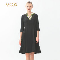 Dress Autumn of 2019 North Point night (B08) 155/S 160/M 165/L 170/XL 175/XXL Middle-skirt singleton  three quarter sleeve commute V-neck High waist Solid color Socket Princess Dress routine Others 30-34 years old Type X VOA Simplicity Wrinkle stitching used resin fixation printing A10730 brocade
