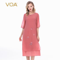 Dress Summer 2020 Light green (40) bean paste (39) 155/S 160/M 165/L 170/XL 175/XXL 180/3XL Mid length dress Fake two pieces elbow sleeve commute Crew neck Loose waist Decor Single row two buttons other routine Others 30-34 years old Type H VOA Retro Asymmetric stitching beads for embroidery AJ59