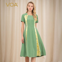 Dress Summer of 2019 Light grass green (g79) 155/S 160/M 165/L 170/XL 175/XXL 180/XXXL Mid length dress singleton  Short sleeve commute square neck middle-waisted Solid color zipper Princess Dress routine Others 35-39 years old Type X VOA lady Stitching resin color fixing printing line decoration