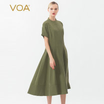 Dress Summer of 2018 Chinese red (H13) mustard green (Q58) Jingyun Shanxiang hongyeqing (H04) 155/S 160/M 165/L 170/XL 175/XXL Mid length dress singleton  Short sleeve Sweet stand collar middle-waisted Solid color Socket Big swing routine Others 35-39 years old Type X VOA A10010 More than 95% silk