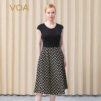 Dress Spring 2021 160/M 165/L 170/XL 175/XXL Mid length dress singleton  Short sleeve commute Crew neck High waist Animal pattern Socket A-line skirt Wrap sleeves Breast wrapping 35-39 years old Type A VOA literature More than 95% knitting silk Mulberry silk 100% Pure e-commerce (online only)