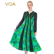 Dress Autumn 2020 Green grass (G1) 155/S 160/M 165/L 170/XL 175/XXL 180/3XL Mid length dress singleton  Long sleeves commute other middle-waisted Decor zipper Big swing other Others 30-34 years old Type X VOA Britain Wrinkle stitching resin fixation printing AE261 More than 95% Silk and satin silk