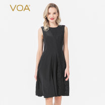 Dress Summer 2020 155/S 160/M 165/L 170/XL 175/XXL 180/XXXL Middle-skirt singleton  Sleeveless commute Crew neck middle-waisted Solid color zipper A-line skirt Others 30-34 years old Type X VOA literature More than 95% brocade silk Mulberry silk 100% Pure e-commerce (online only)
