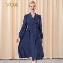 Dress Autumn 2020 Plain and picturesque (a63) 155/S 160/M 165/L 170/XL 175/XXL 180/3XL Mid length dress singleton  Long sleeves commute other middle-waisted Solid color zipper Big swing bishop sleeve Others 30-34 years old Type X VOA literature Fold stitching resin fixation AE197 More than 95% silk