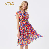 Dress Autumn 2020 Red dot (H29) 155/S 160/M 165/L 170/XL 175/XXL 180/XXXL Middle-skirt singleton  Short sleeve Sweet other Elastic waist Dot Socket A-line skirt Flying sleeve Others 30-34 years old Type X VOA Resin fixation printing with lace AE98 More than 95% Chiffon silk Mulberry silk 100% Ruili