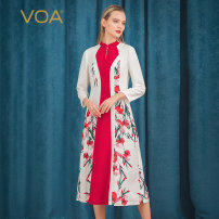 Dress Autumn of 2019 Begonia (H81) 160/M 165/L 170/XL 175/XXL 155/S Mid length dress singleton  three quarter sleeve commute Half open collar middle-waisted Decor Socket A-line skirt routine Others 30-34 years old Type X VOA lady A10750 More than 95% brocade silk Mulberry silk 100%