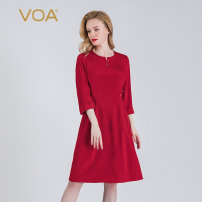 Dress Spring 2020 Brilliant red (H37) 155/S 160/M 165/L 170/XL 175/XXL 180/XXXL Middle-skirt singleton  elbow sleeve commute Half open collar middle-waisted Solid color Socket A-line skirt Princess sleeve Others 30-34 years old Type A VOA Retro Button resin fixation A32 Silk and satin silk