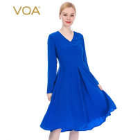 Dress Summer 2020 Crescent blue (A30) 155/S 160/M 165/L 170/XL 175/XXL 180/XXXL Mid length dress singleton  Long sleeves commute V-neck middle-waisted Solid color zipper Big swing shirt sleeve Others 30-34 years old Type X VOA lady Fold stitching resin fixation A45 More than 95% Silk and satin silk