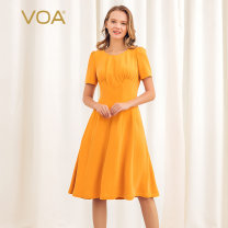 Dress Summer of 2019 155/S 160/M 165/L 170/XL 175/XXL 180/3XL Mid length dress singleton  Short sleeve street Crew neck middle-waisted Solid color Socket Big swing routine Others 40-49 years old Type X VOA More than 95% Silk and satin silk Mulberry silk 100% Pure e-commerce (online only)
