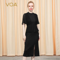 Dress Autumn 2020 155/S 160/M 165/L 170/XL 175/XXL 180/XXXL Mid length dress singleton  Short sleeve commute Half high collar High waist Solid color Socket One pace skirt Lotus leaf sleeve Others 30-34 years old Type H VOA Ol style More than 95% knitting silk Mulberry silk 100%