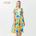 Dress Autumn of 2019 Blue chrysanthemum with yellow background (C46) 160/M 165/L 170/XL 175/XXL Middle-skirt singleton  Short sleeve commute Crew neck middle-waisted Decor Socket Princess Dress routine Others 30-34 years old Type X VOA lady Wrinkle stitching resin fixation printing A10610 silk