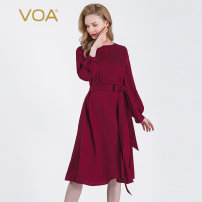 Dress Spring 2020 Luoxiahong (H02) 155/S 160/M 165/L 170/XL 175/XXL 180/XXXL Middle-skirt singleton  Long sleeves commute Crew neck High waist Solid color Socket A-line skirt bishop sleeve Others 30-34 years old Type X VOA literature 3D decoration of bow tie AJ01 More than 95% Silk and satin silk