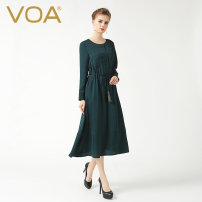 Dress Autumn 2015 Peacock green (105) 155/S 160/M 165/L 170/XL 175/XXL 180/XXXL 185/4XL 190/5XL 195/6XL 200/7XL longuette singleton  Long sleeves street Crew neck Elastic waist Solid color Socket Big swing routine Others 35-39 years old Type A VOA Fringes, folds and lacing A6286 More than 95% brocade