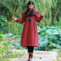 Cotton padded clothes Black, red, blue Average size Winter 2017 Huajianyu Medium length Long sleeves routine Three buttons commute Hood routine Cape type Solid color ethnic style Buttons, pockets, embroidery