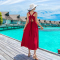 Dress Summer of 2018 Red, leaf, pattern XS,S,M,L,XL longuette singleton  Sleeveless Sweet V-neck High waist Solid color Socket A-line skirt routine camisole Type A Bandage 71% (inclusive) - 80% (inclusive) other polyester fiber Bohemia