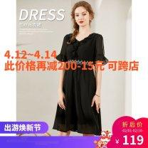 Dress Summer 2020 black 3XL Loose waist